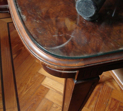 mesa de comedor luis 16 caoba tapa raiz alargue trampa