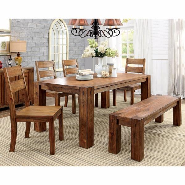 Mesa de comedor madera con 4 sillas y banca modelo louisa for Modelos de sillas de madera para comedor
