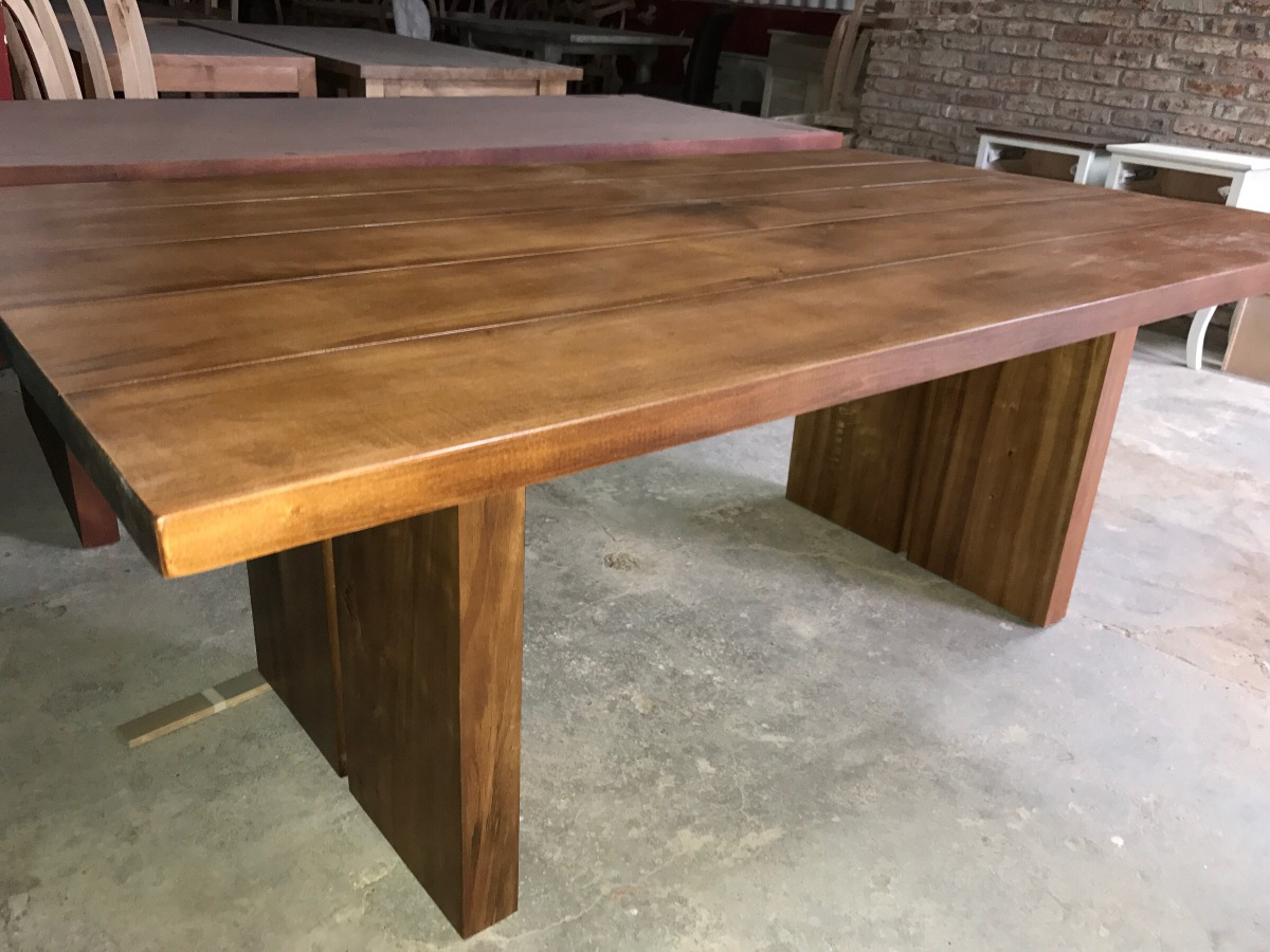 Mesa de comedor madera maciza alamo en - Tableros de madera maciza para mesas ...
