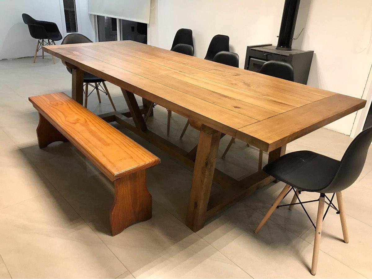 Mesa de comedor madera maciza barbacoa rustica en mercado libre - Mesa madera maciza rustica ...