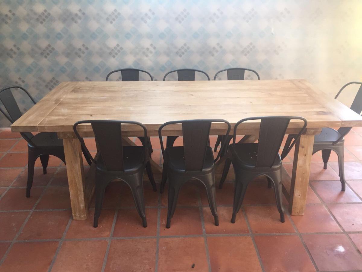 Mesa de comedor madera maciza barbacoa rustica for Mesa de madera maciza