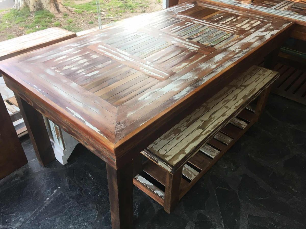 Mesa De Comedor Madera Reciclada Rústica Vintage Decapada
