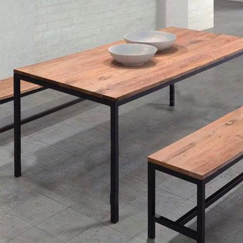 mesa de comedor madera y hierro 120x80 calidad premium
