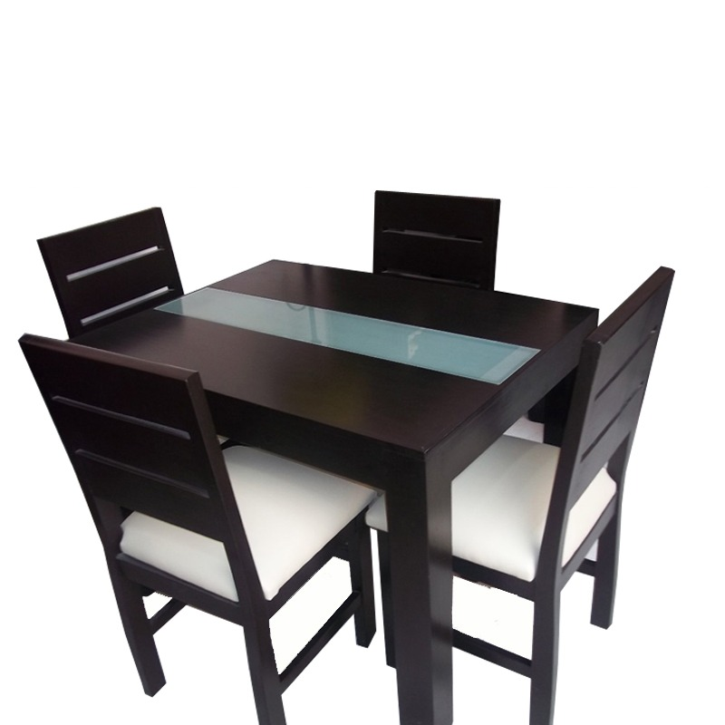 Mesa de comedor minimalista con vidrio con 4 sillas for Comedores modernos para 4 personas