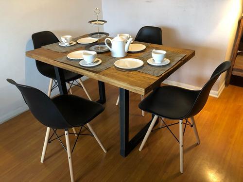 mesa de comedor modelo industrial rustico nogal