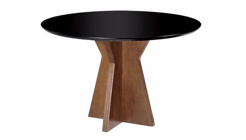 mesa de comedor redonda fija color imbúia 110x77cm