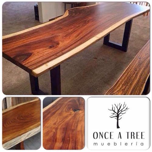 Mesa de comedor tronco de madera de parota rebanada for Mesas de comedor rectangulares de madera
