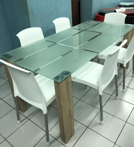 mesa de comedor vidrio 1.80mts  x 085 base simil haya (mdf)
