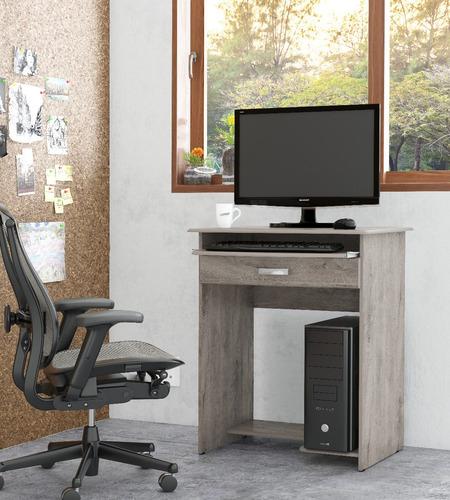 mesa de computador prática com gaveta carvalho