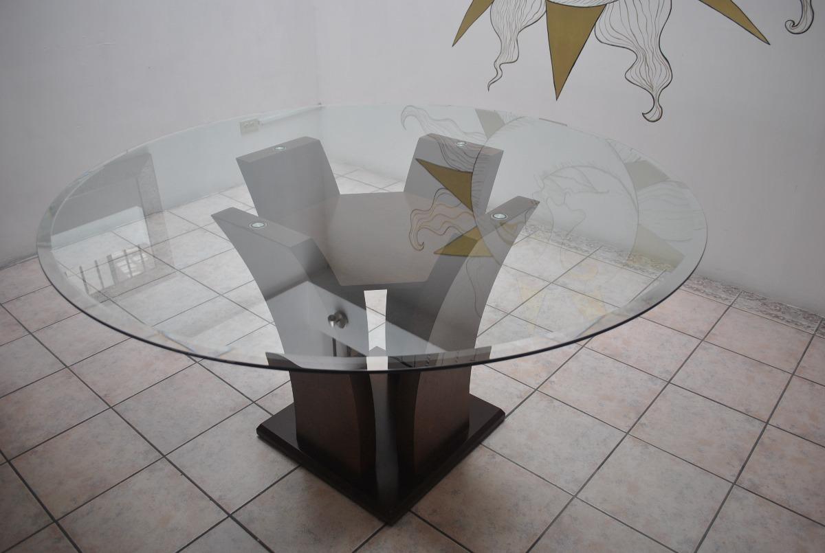 Mesa De Cristal Con Base De Madera Para Comedor Solo Puebla ...