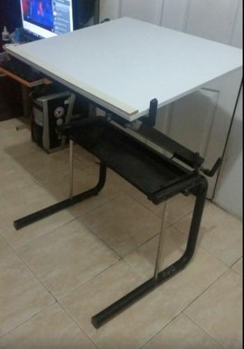 mesa de dibujo importada de formica con banco de madera