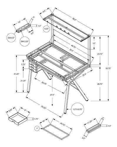 mesa de dibujo monarch specialties negro