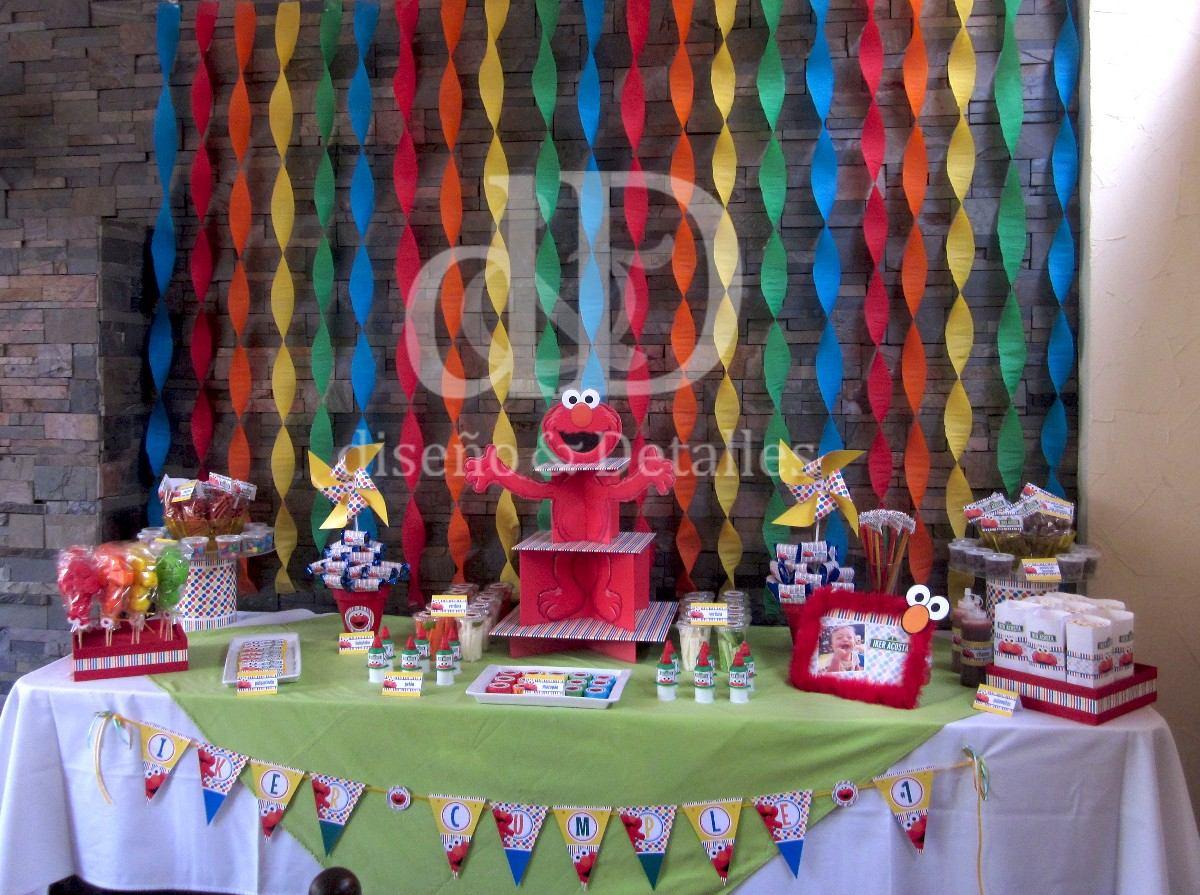 Mesa De Dulces Fiesta Tematica Elmo 100 00 En Mercado Libre