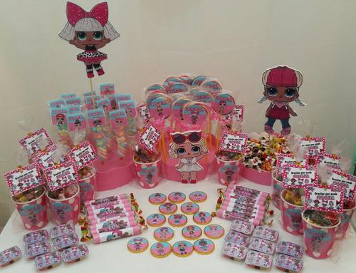 mesa de dulces muñecas lol, unicornio, $100 por persona