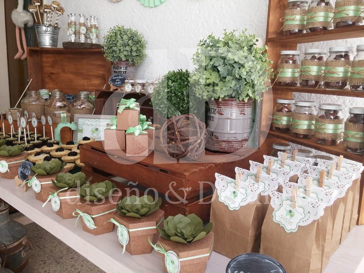 Mesa de dulces r stica intermedia en mercado libre for Decoracion mesa rustica