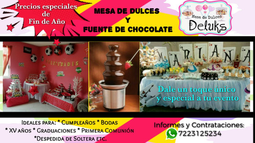 mesa de dulces y snacks y fuente de chocolate