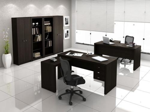 mesa de escritório 3 gavetas tecnomobili me4106 - tabaco