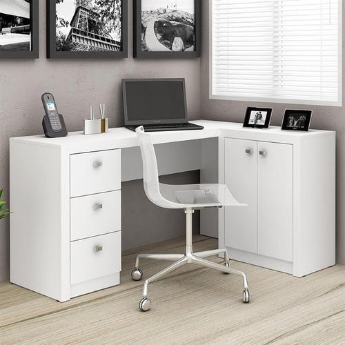 mesa de escritório com balcão tecnomobili me4100 - branco