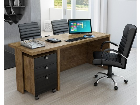 Mesa de escrit rio com gaveteiro 100 mdf dalla costa - Mesa de escritorio ...