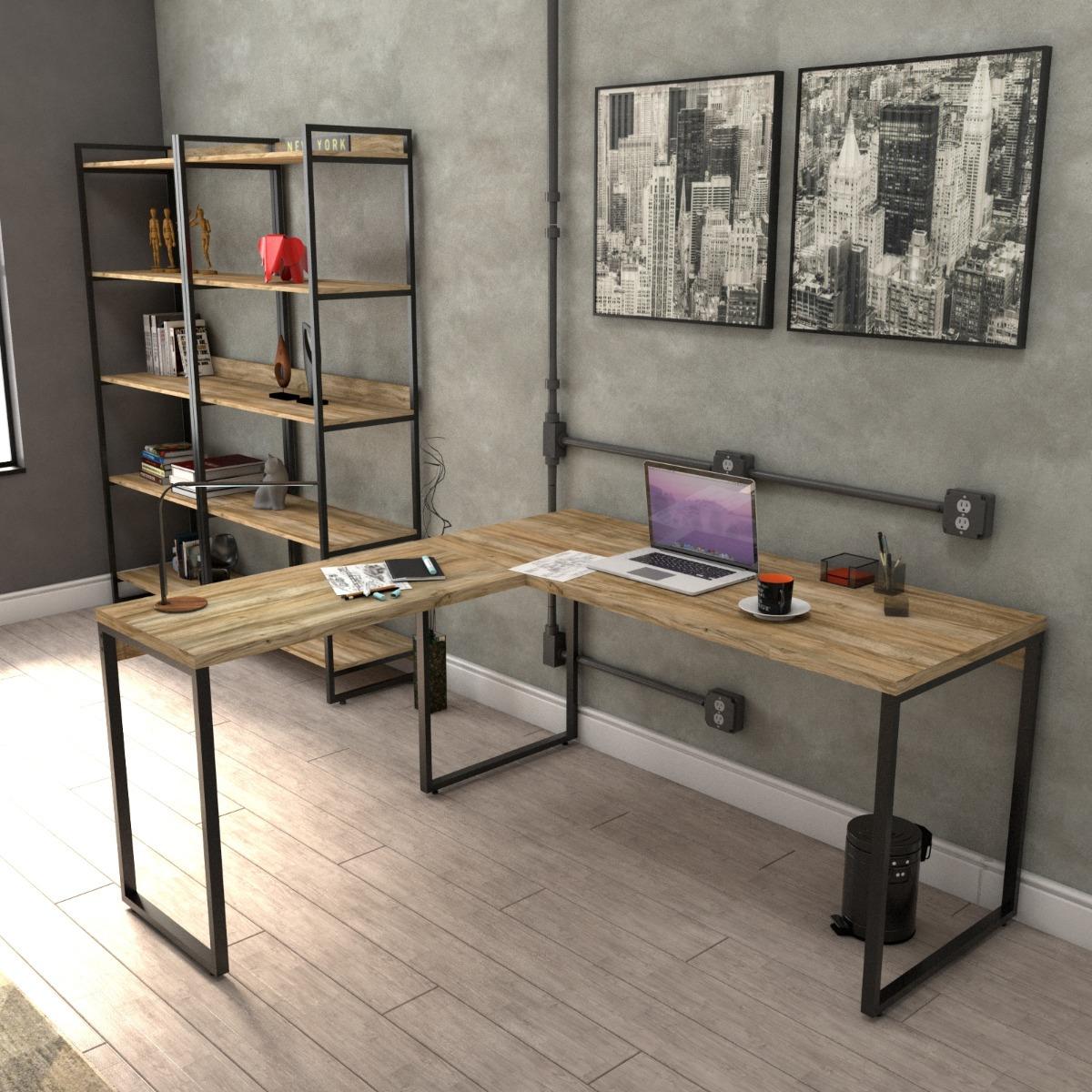 mesa de escrit rio em l estilo industrial 1 50x1 50m On escritorio estilo industrial