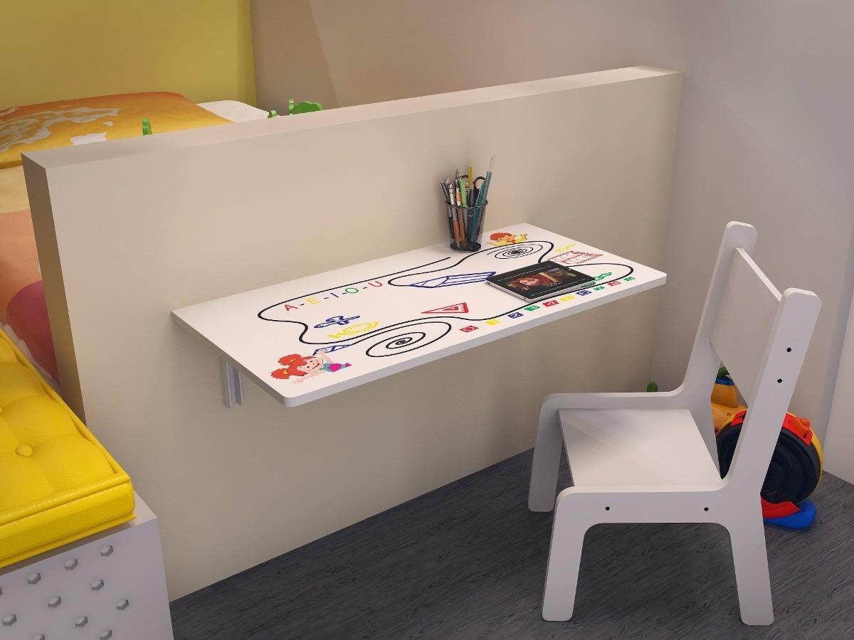 Mesa de estudo infantil dobr vel com cadeira crian a 70x40 for Mesa infantil