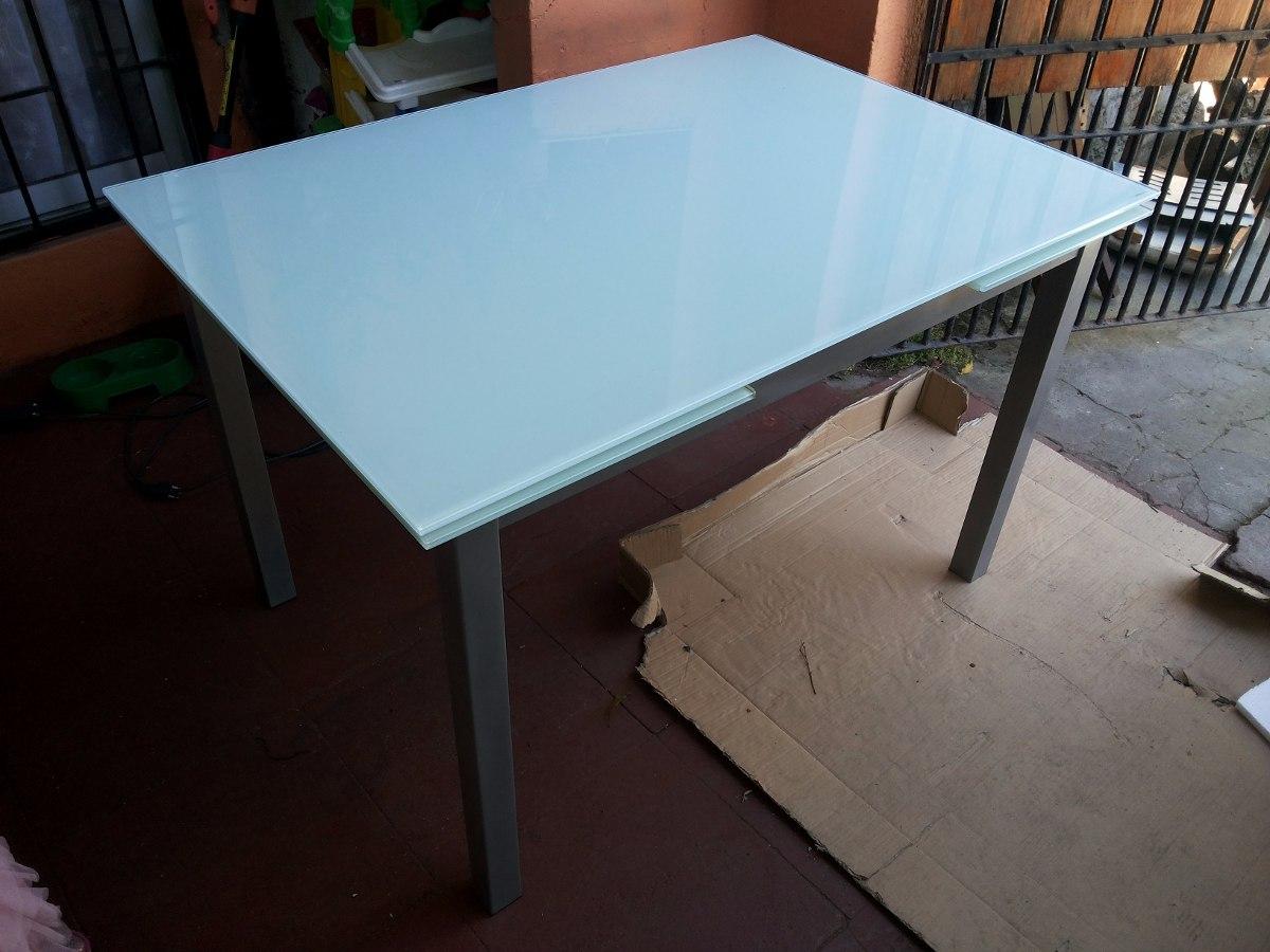 Mesa de fierro y elegante vidrio templado blanco en mercado libre - Mesas de vidrio templado ...