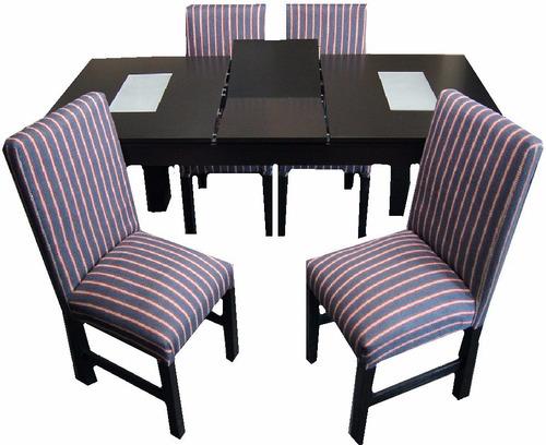 mesa de guatambu extensible 1.40 a 1.80mt +4 sillas chenille