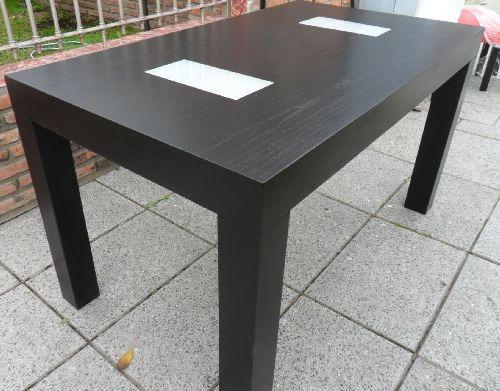 mesa de guatambu laqueada en negro wengue con o sin vidrios