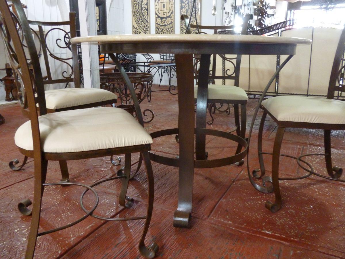 Mesa De Hierro Forjado Con Marmol 4 500 00 En Mercado Libre # Muebles Jalisco Tonala