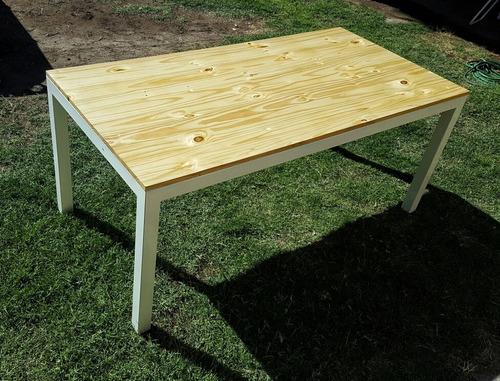 mesa de hierro y madera 1.8mx0.9m