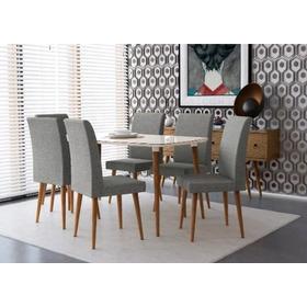 Mesa De Jantar 1,70x0,90 Jade 6 Cadeiras Off White Lunar