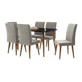 Mesa De Jantar 1,70x0,90 Jade 6 Cadeiras Preto Cinza Lunar