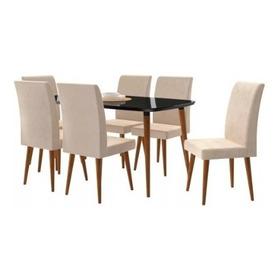 Mesa De Jantar 1,70x0,90 Jade 6 Cadeiras Preto Suede Bege