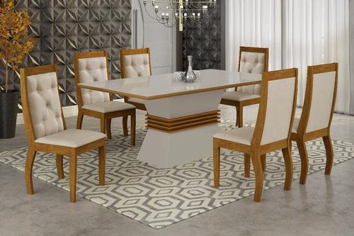 mesa de jantar 1,80 x 0,90 ágata c/6 lug quina curva rufato