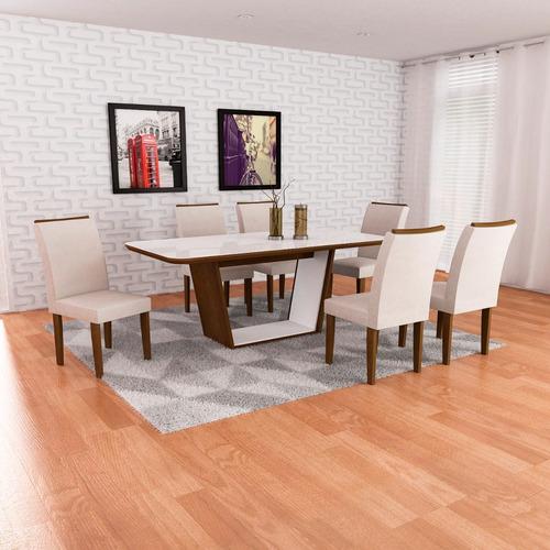 mesa de jantar 1,80 x 0,90 sofia c/6 cadeiras lunara rufato