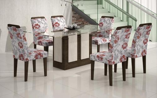 mesa de jantar amsterdã 6 lugares tpo vidro 1,80x0,90 rufato