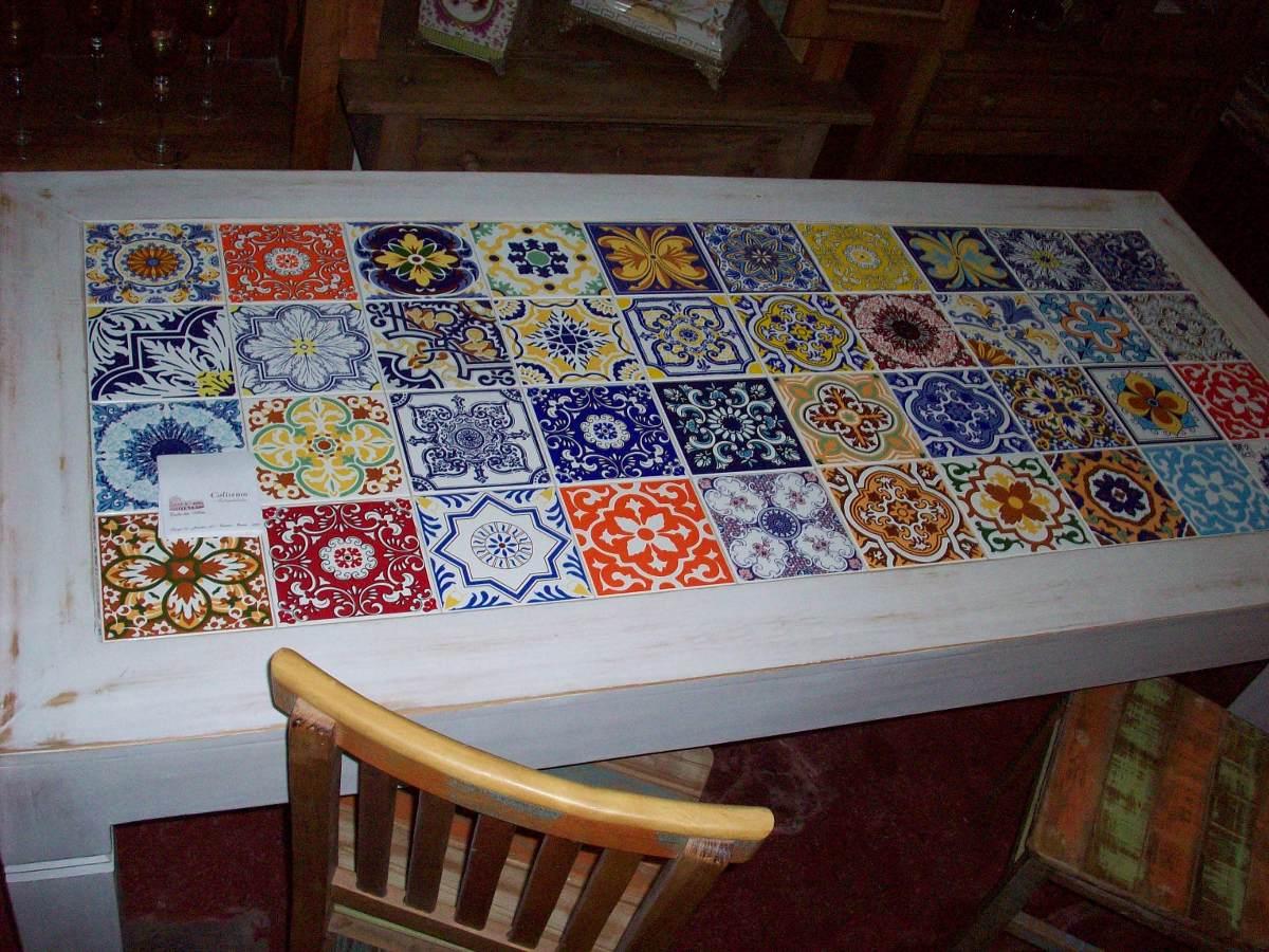 Mesa de jantar com tampo de azulejo decorados r for Azulejos decorados