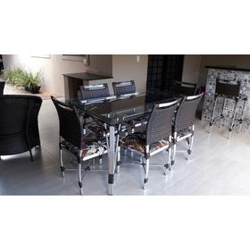 Mesa De Jantar De Fibra Sintética Com 6 Cadeiras Em Aluminio
