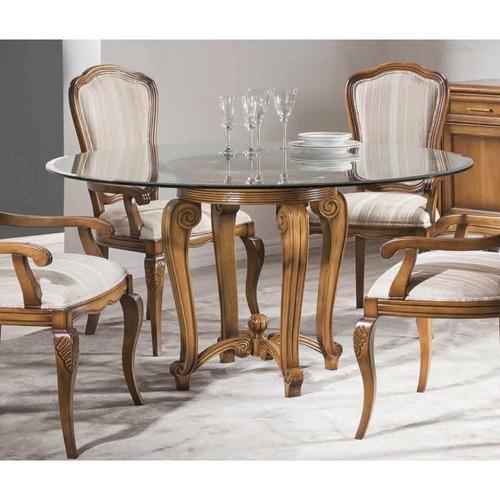 mesa de jantar em madeira maciça com tampo de vidro