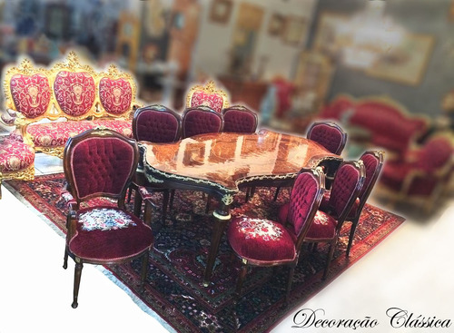 mesa de jantar estilo clássico europeu antigo jogo completo