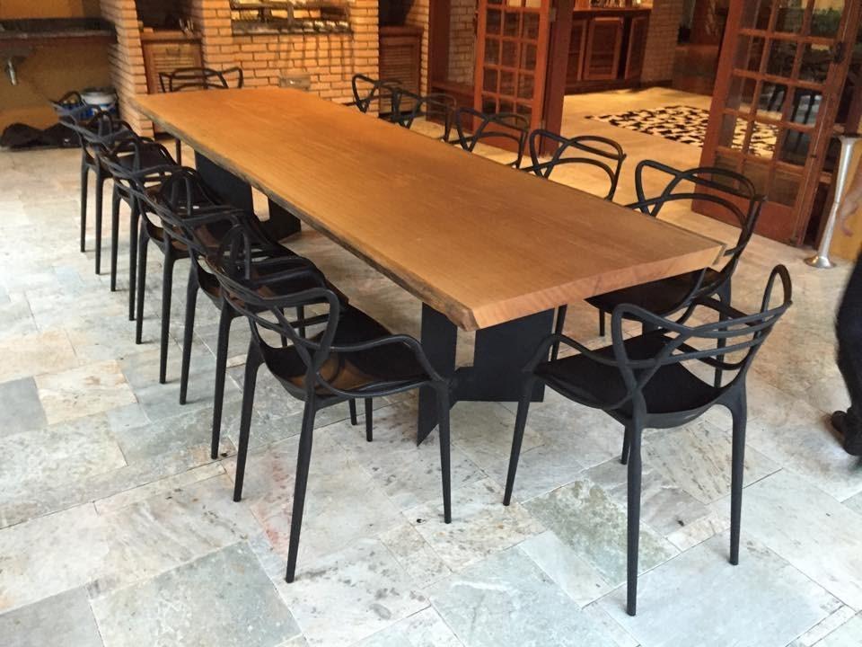 Mesa de jantar maci a r stica design moderno pe for Pedestales metalicos para mesas