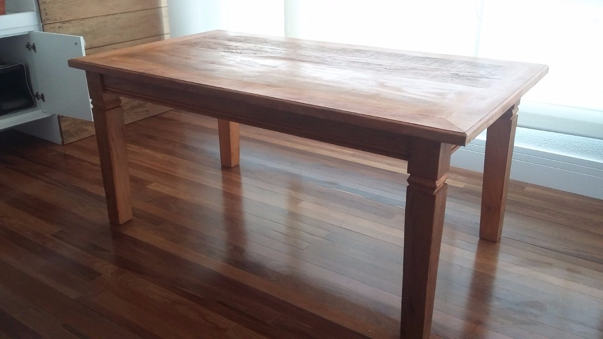 Mesa de jantar madeira r stica r em mercado livre for Imagenes de mesas rusticas
