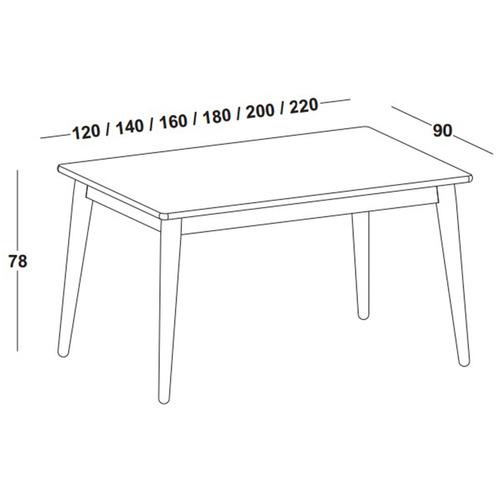 mesa de jantar novita com tampo 180cm maxima ch