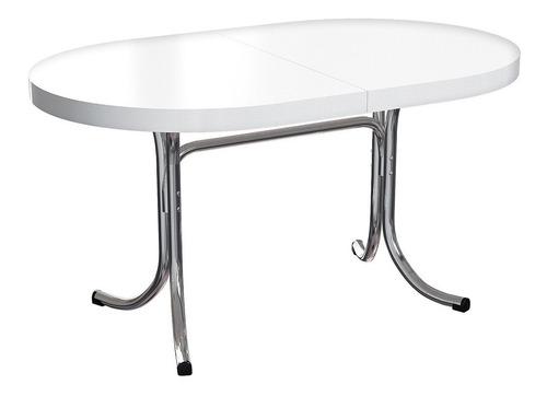 mesa de jantar oval em formica branca/ cromada brigatto