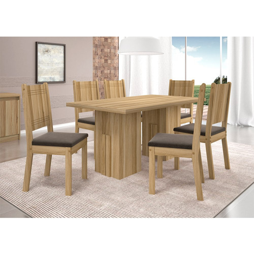 mesa de jantar para 6 lugares, tampo de madeira, teka tx, ap