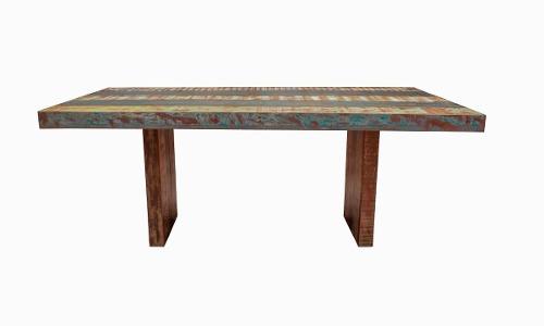 mesa de jantar pés recuados madeira demolição 180x90x78
