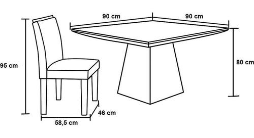 mesa de jantar pietra, 4 cadeiras, mdf, com tampo de vidro - lj móveis