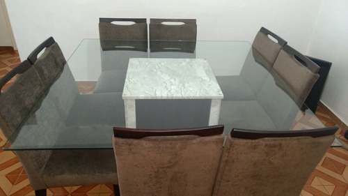 mesa de jantar quadra 1,50m, 8 cadeiras e base de marmore