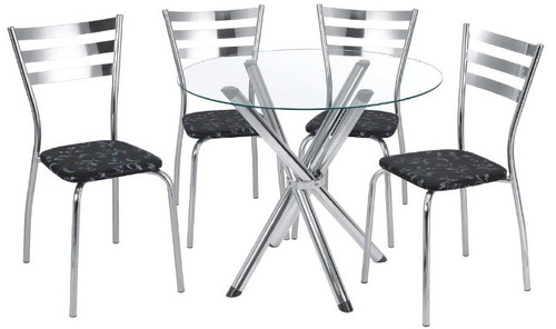 mesa de jantar redonda com tampo de vidro com 4 cadeiras