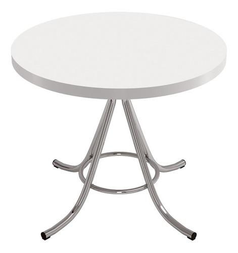 mesa de jantar redonda em formica bege/cromada brigatto